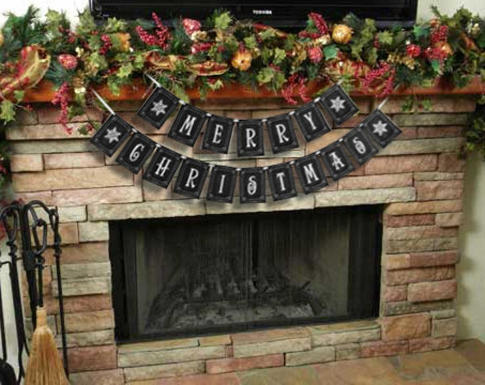MERRY CHRISTMAS large Christmas Banner - Download and Printable - DIY - Chalkboard style - Black and White