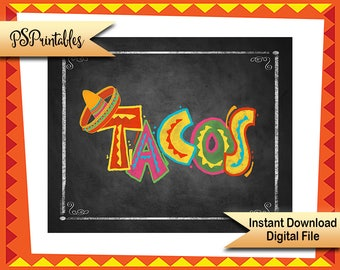 Printable Taco Sign, Fiesta Taco Sign, Fiesta Wedding Sign, Birdthday Fiesta Party sign, Mexican Taco Sign, Party food signs DIY party decor