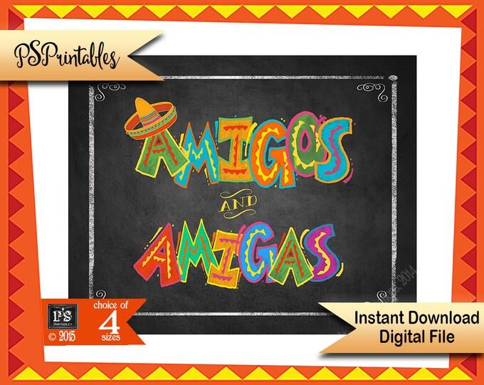 Printable Fiesta Amigos & Amigas signs, Fiesta Sign, Bathroom sign, Mexican Fiesta Party sign, Party Printable, DIY Fiesta Birthday sign