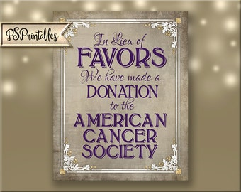 Printable Donation Sign Poster for wedding or party - In lieu of donation - DIY - choice of 5 sizes - Old Lace Collection