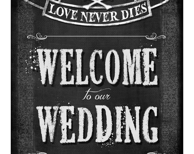 Printable Welcome Sign | Halloween Themed Chalkboard Welcome to our Wedding Sign