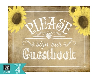 Vintage Style Wedding Guestbook PRINTABLE sign with sunflowers - Perfect for rustic or barn weddings - DIY wedding signage