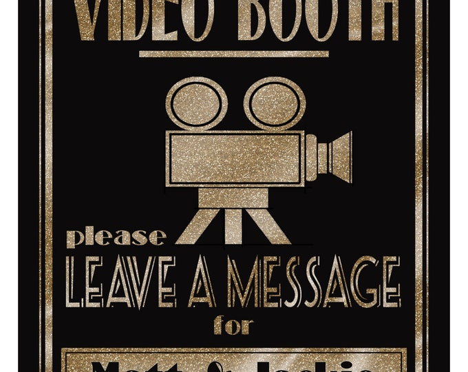 Personalized VIDEO  BOOTH sign | PRINTABLE 1920's wedding sign, Graduation video, Anniversary party sign, digital file, diy wedding decor
