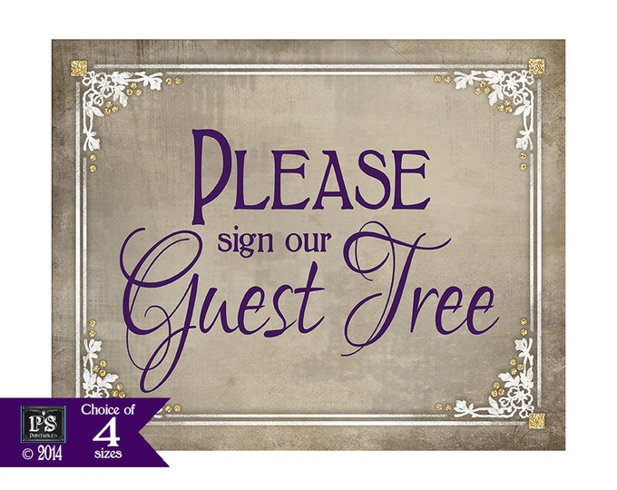 Printable Sign our Guest Tree Wedding Sign, Guest Tree wedding sign, Sign a leaf wedding sign, DIY wedding signage - Old Lace Collection