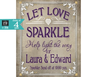 Printable Wedding sign Sparkler Send Off Sign Poster - Personalized with names and send off time - choice 5 sizes - Old Lace Collection