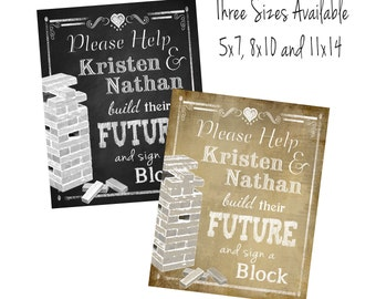 PERSONALIZED Wedding sign a block wedding signage in a chalkboard or vintage style - DIY Printable - Rustic and vintage heart Collections