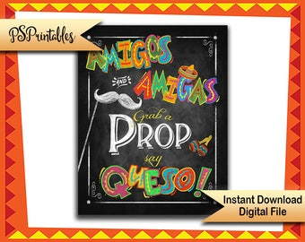 Printable Fiesta Photobooth sign, Grab a prop sign, mexican party sign, Photo Booth fiesta sign, wedding photobooth, birthday photobooth
