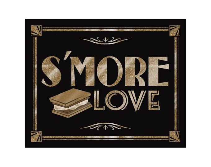 S'more Love Wedding Sign | PRINTABLE Roaring 20s Sign, Wedding Smores sign, black gold wedding decor, wedding decorations, DIY Wedding signs