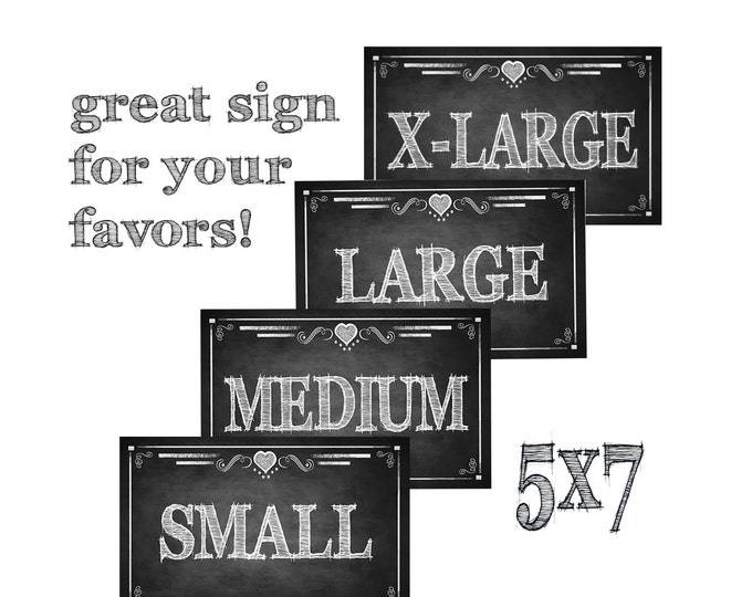 Size Small Medium, Large and X-Large Signs, chalkboard style - Flip Flop, glove, socks or slipper favor Basket Size Signs -Rustic collection