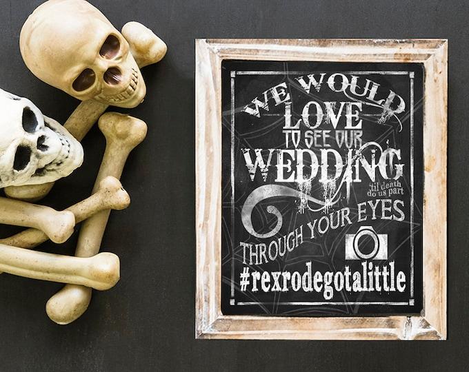Halloween Wedding HASHTAG Sign, Halloween Wedding Decor, Goth Wedding Hashtag, Halloween Personalized Hashtag, Halloween Digital Download