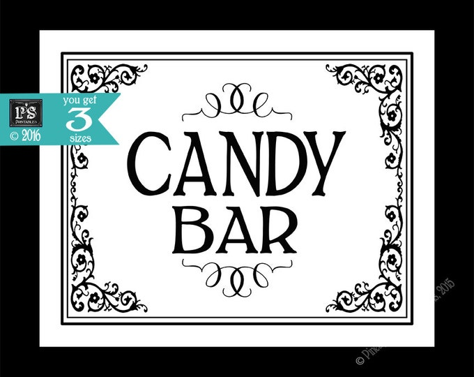 Printable Candy Bar - Special Event sign - instant download digital file - DIY for wedding graduation retirement - Black Tie Collection
