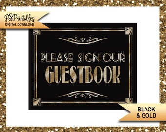 1920s Theme Wedding Guestbook Sign | PRINTABLE Wedding sign, black gold wedding, wedding decor, Sign our Guest book sign, DIY wedding