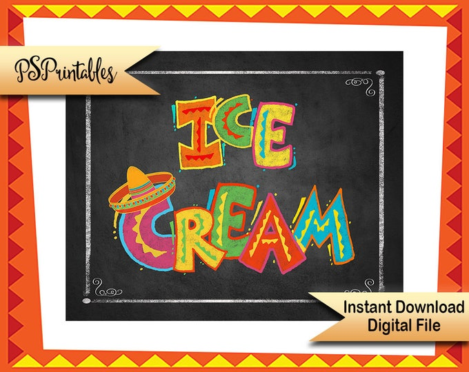 Child's Fiesta Ice Cream Party sign, Printable party sign, Printable Birthday sign, Printable Wedding fiesta sign, printable graduation Sign