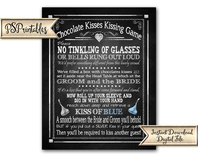 Chocolate Kisses Game Wedding Sign   PRINTABLE Silver Blue Wedding Printable, Wedding Games Sign, Wedding Kisses Game, Candy Kisses game