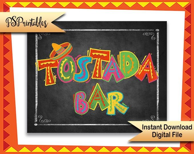 Printable Fiesta Tostada Bar sign, Fiesta birthday sign, wedding fiesta sign, chalkboard printable, taco party sign, mexican birthday sign