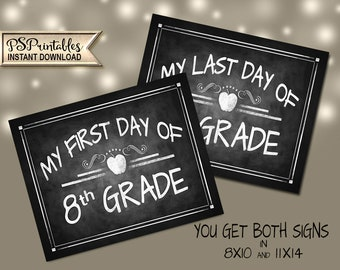 First Day of 8th Grade Photo Prop  | PRINTABLE Back to School Sign, First Day of Eigth Grade,  Milestone Sign, Chalkboard Prop, First Day