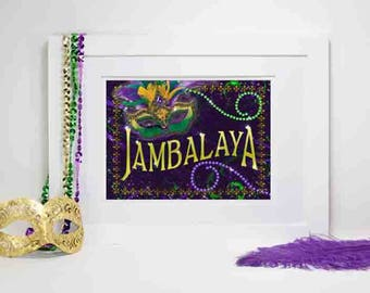 Mardi Gras Party Decoration, Mardi Gras Jambalaya, Mardi Gras Jambalaya Sign, Mardi Gras party Decor, Party Decorations, Jambalaya Sign