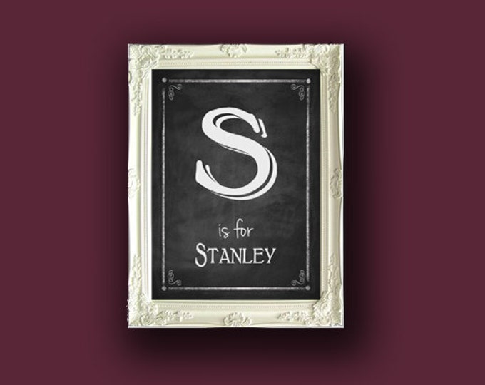 DIY Chalkboard Style Initial and Name Family or Nursery Sign - downloadable, editable and printable