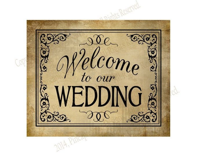 Welcome to our Wedding Printable File - DIY instant download - Vintage Black Tie Collection
