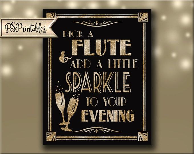 Champagne Wedding Sign | PRINTABLE 1920's wedding sign, Digital Download, Pick a Flute Sign, Flute Wedding Favors, Black Gold Wedding Sign