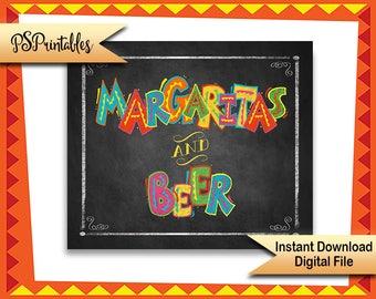 Fiesta Bar sign, Printable Margaritas & Beer Fiesta Wedding Party sign, Cinco De Mayo Party Decoration, Printable bar sign, Taco Party Sign