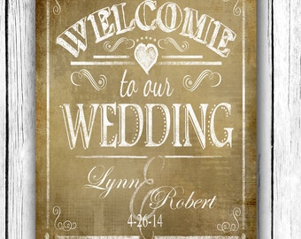 Personalized Welcome to our Wedding Printable File with Bride & Groom Names and wedding date - DIY - Vintage Collection