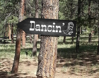 Western Themed Dancin' DIRECTIONAL signs - Chalkboard Style - PRINTABLE file - diy Western Wedding or event signage