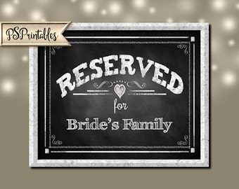 DIY Editable Chalkboard Style RESERVED signs - Rustic Collection - Print as many as you need