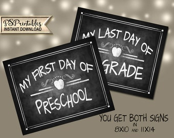 Preschool 1st day Sign | PRINTABLE First Day Preschool Sign, Chalkboard Preschool Sign, First Day of Preschool, Preschool Photo Prop Sign
