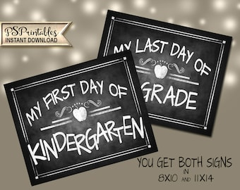Kindergarten Sign | PRINTABLE First Day School Sign, Chalkboard School Sign, First Day of Kindergarten, DIY First Day Back to School Sign