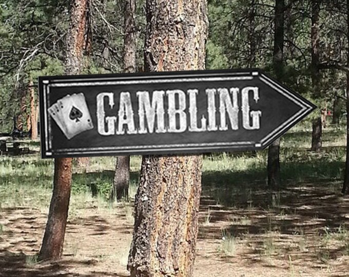 Western Themed GAMBLING DIRECTIONAL signs - Chalkboard Style - PRINTABLE file - diy Western Wedding or event signage