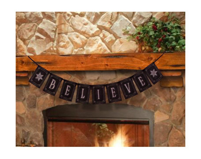 BELIEVE Christmas Banner - Download and Printable - DIY - Chalkboard style - Black and White