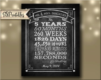 Personalized 5th year Anniversary and counting chart, anniversary sign, anniversary card,  Rustic Chalkboard Collection DIY printable file