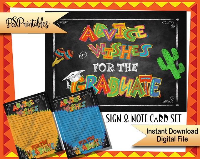 Mexican Fiesta Party Decoration   PRINTABLE Graduation Sign and Note Cards, Fiesta Graduation, Advice Wishes for the Graduate, Grad Party