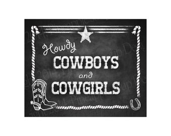 Welcome Cowboys and Cowgirls Western Theme sign - Chalkboard Style Sign - PRINTABLE file -  DIY chalkboard poster
