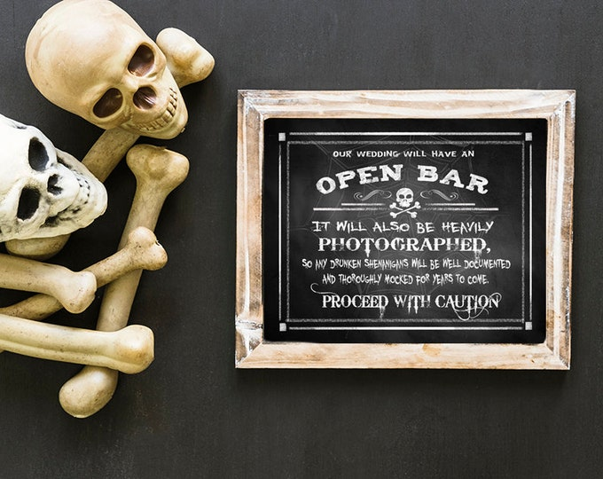Halloween Wedding Sign | PRINTABLE Open Bar Drunken Shenanigans Halloween Wedding BAR Sign, chalkboard wedding, halloween bar sign, wicked
