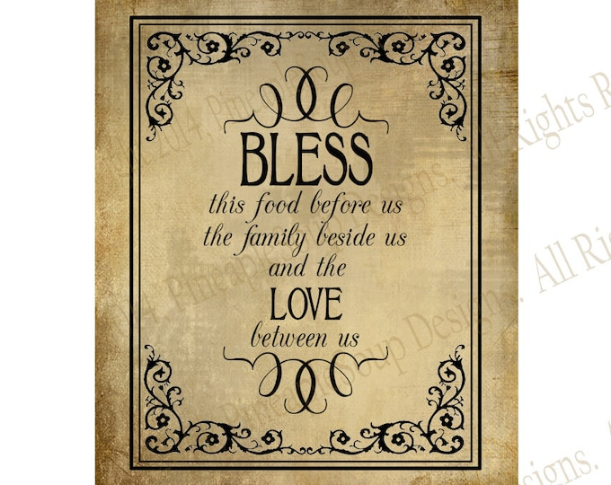 Bless The Food Before Us - Blessing wedding sign - instant download PRINTABLE digital file - Vintage Black Tie Collection