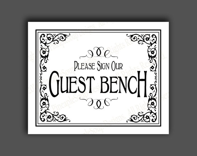 PRINTABLE Please sign our GUEST BENCH Wedding sign - Diy instant download - Traditional black and white design - Black Tie design
