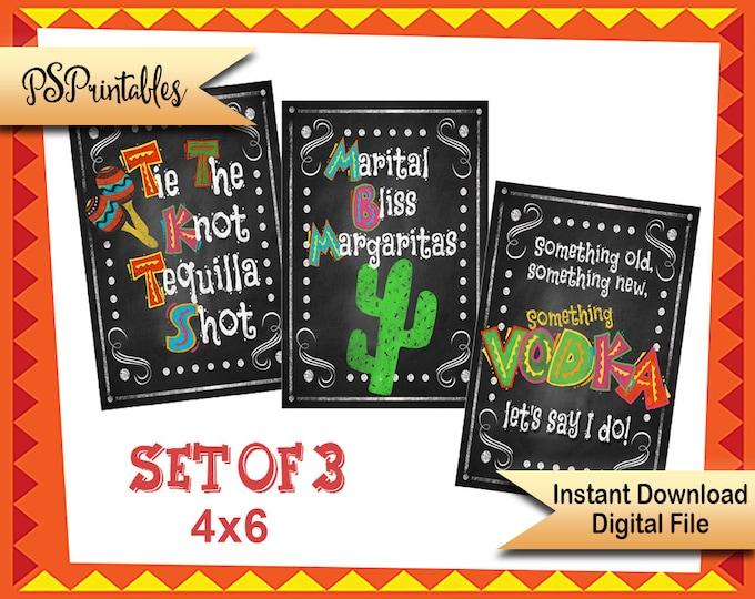 DIY Printable Fiesta Party Sign, Fiest Bar sign SET, bar labels, Cinco de mayo wine labels, Wedding Fiesta, Birthday Fiesta, Retirement Sign