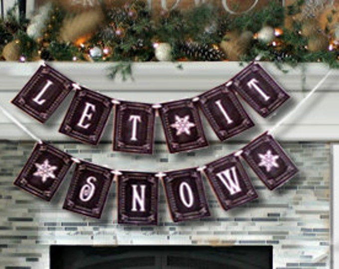 LET IT SNOW large Christmas Banner - Download and Printable - diy - Chalkboard style - Black and White