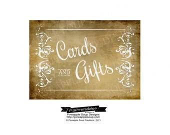 DIY Printable Wedding Vintage CARDS & GIFTS sign - instant download of digital file - Vintage Victoria Collection
