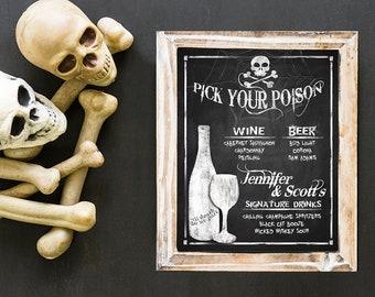 Halloween Wedding DRINK MENU Sign, Halloween Party Drink Menu, Halloween Wedding Decor,  Printable File, Pick Your Poison, Drink Menu