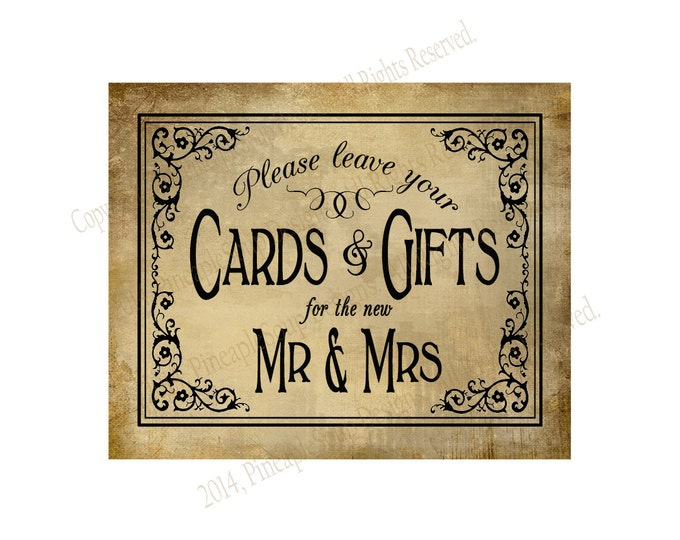 Printable Wedding CARDS & GIFTS sign - 5x7, 8x10 or 11 x 14 - instant download digital file - DIY - Vintage Black Tie Collection