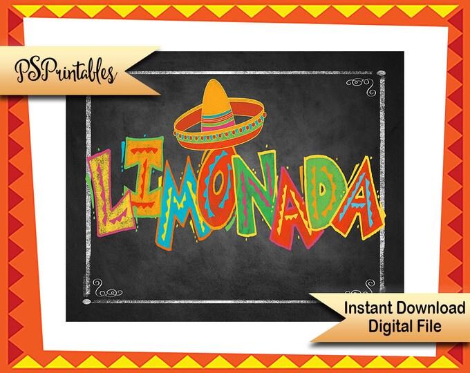 Fiesta party printable, limonade sign, fiesta sign, Printable fiesta decor, DIY birthday fiesta sign, wedding fiesta, graduation fiesta sign