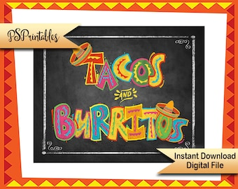 Printable Fiesta Taco Party sign, chalkboard sign, Birthday fiesta sign, Wedding fiesta sign, Fiesta Graduation Sign, printable wedding sign
