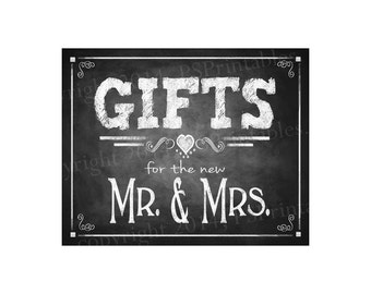 Chalkboard Wedding Signage | PRINTABLE Wedding Chalkboard Sign, GIFTS for Mr & Mrs, Gifts Sign, Gifts Table Decor, Rustic Wedding Decor