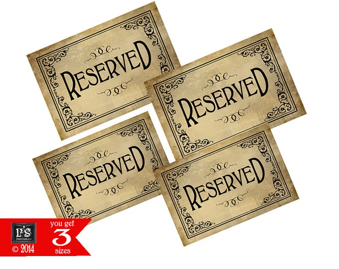 Reserved Signs - instant download PRINTABLE digital file - great for weddings and events - great chair signs  - Vintage Black Tie Collection