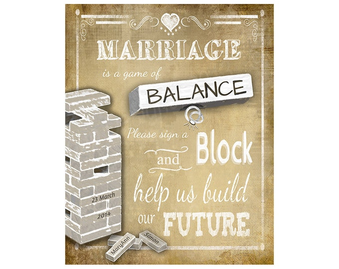 PERSONALIZED Wedding Sign a block sign in a VINTAGE style - DIY Printable - Vintage Heart Collection