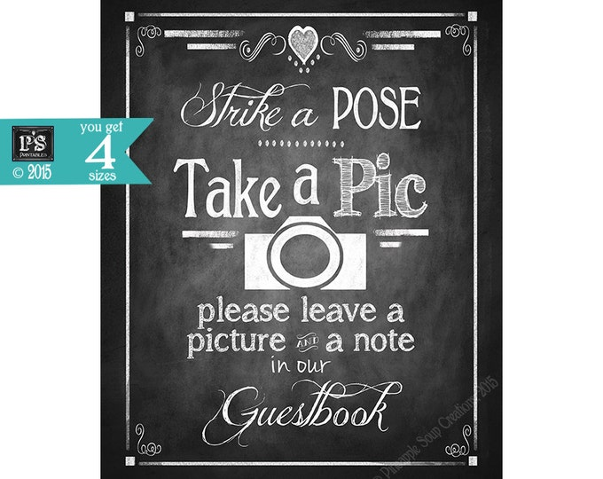 Printable PHOTO BOOTH Guestbook Sign - Chalkboard Style -  Strike a Pose - Rustic Heart Collection - four sizes -  weddings  & part signage