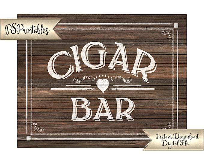 Cigar Bar Sign | PRINTABLE Wedding Signage, Wedding Cigars, DIY Faux Wood Wedding Signs, Man Cave Sign, Wedding Printables, Wedding Decor